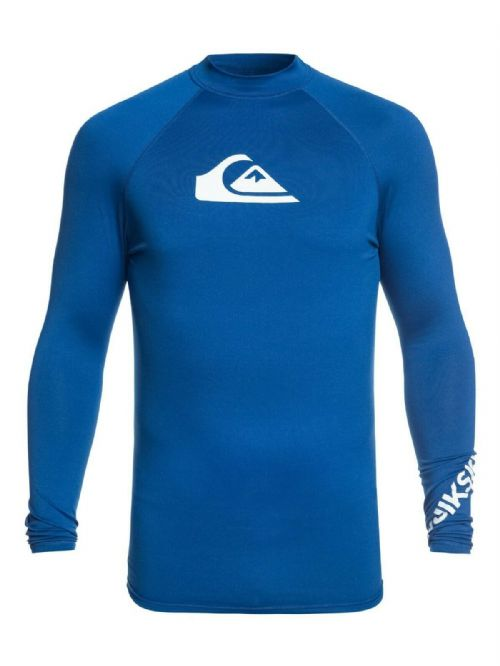 QUIKSILVER MENS RASH VEST.ALL TIME UPF50+ LONG SLEEVE BLUE TOP T SHIRT 9S 37PR